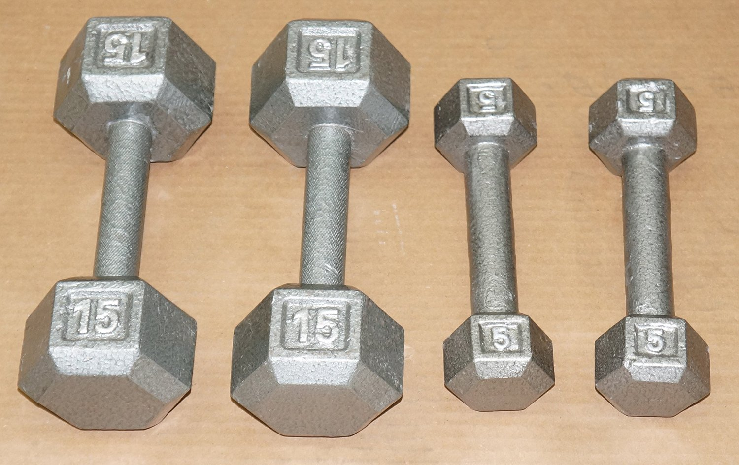 TDS Cast Iron Hex Dumbell Package 5 & 15 lb.- (one 5lb & one 15lb)