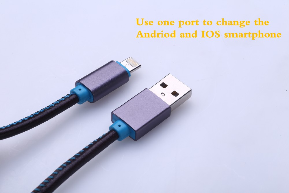 2016 New Leather Usb Cable Two In One,Koeok Both Suits For Android ...