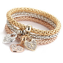 Fashion Three Colors Gold charm rhinestone heart bracelet set for women wholesale N95203