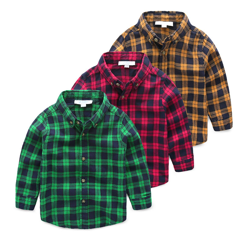 Male child spring and autumn 100% cotton shirt child plaid long-sleeve shirt 2015 children's clothing baby autumn turn-down