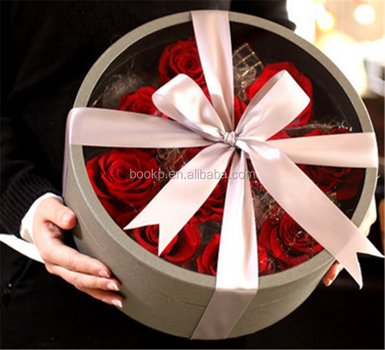 Luxury Custom Logo Material Cardboard Rose Gift Box Paper Round Flower Packaging Box