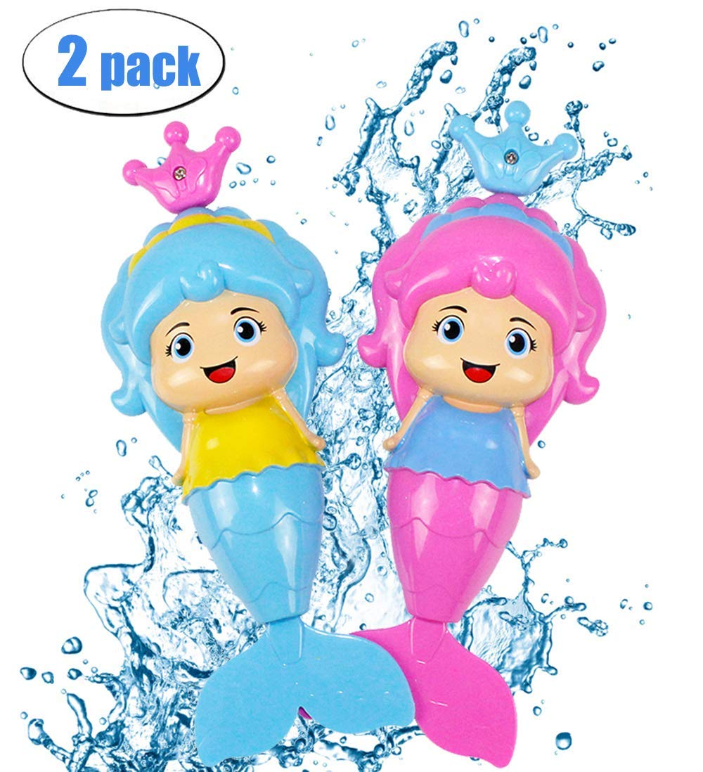 Bdwing [2 pack] Mermaid Baby Bath Toy Mermaid Wind Up Floating Water Toys for Kids and Toddlers - Swimming Pool Beach Bathing Time Bath Tub Fun - Color Random