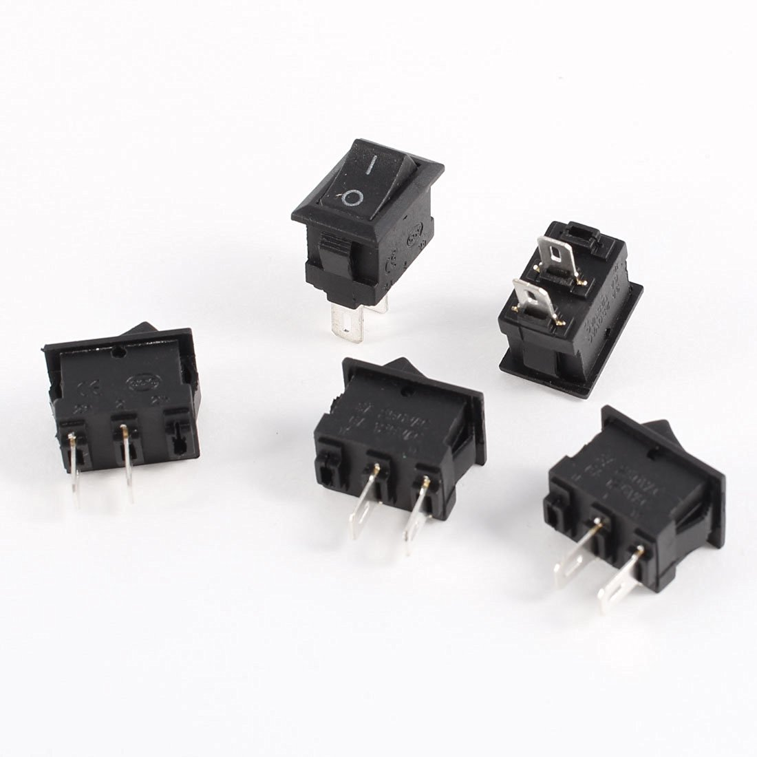 uxcell 5 Pcs SPST ON/OFF 2 Terminals Boat Rocker Switch AC250V/3A AC125V/6A