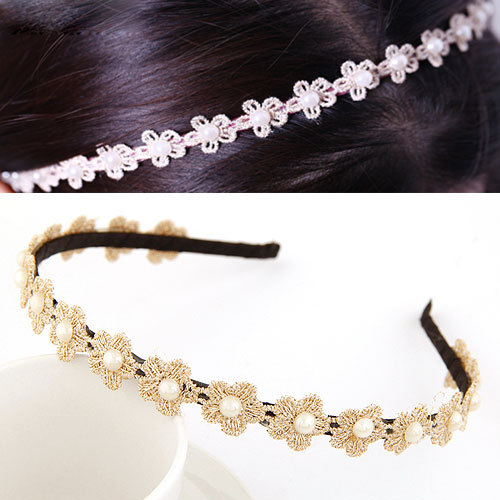 Korean OL Fashion Jewelry Joker Pearl Lace Flowers Accessories Charm Small Version Hairband Tiara Hairwears Hair Hoop For Women