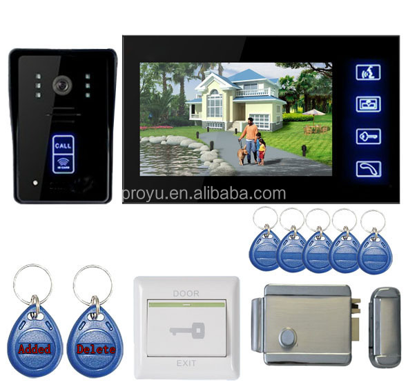 High quality 7 inch Video Door Phone Intercom System with electric lock PY-806MJID1101