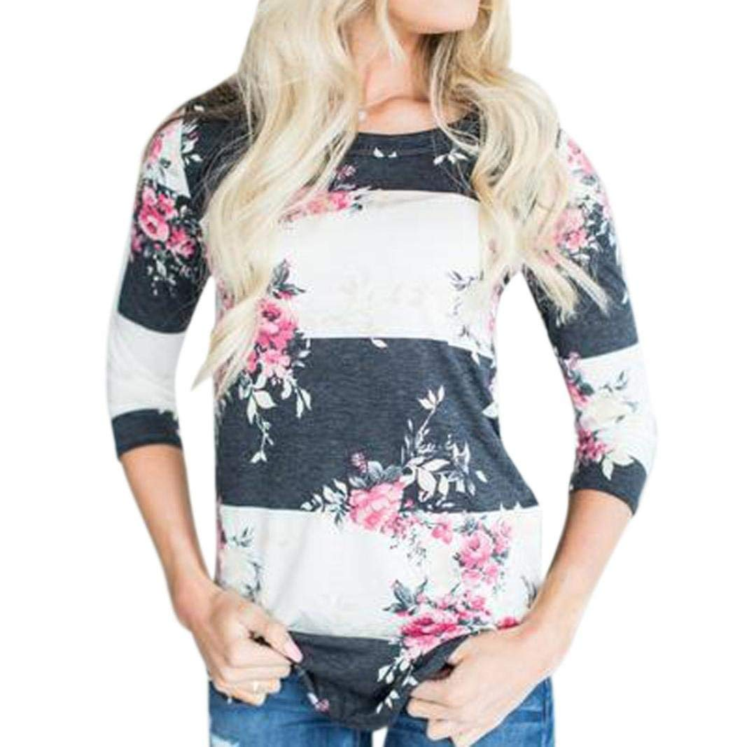 BCDshop Women Fall Spring Casual Floral Print 3/4 Sleeve Tops Shirts T-Shirt Blouse