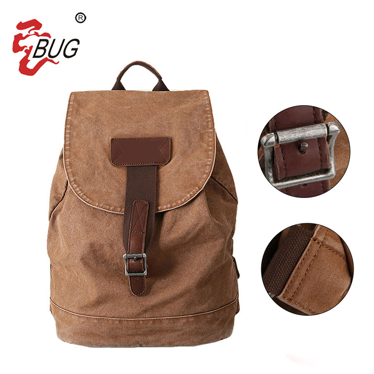 Best Price Custom Design Printing Durable Vintage Canvas Leather Stringing Travelling Backpack