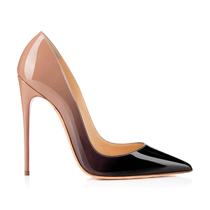 latest fashion wholesale big large size evening dress pumps stilettos gradient patent girls ladies women high heel shoes