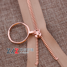 3# Open-end Customized size rose gold metal zipper with O-ring puller