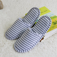 Women Men Open Toe Slipper Winter Warm Indoor House Scuff Mule Stripe Slippers Shoes