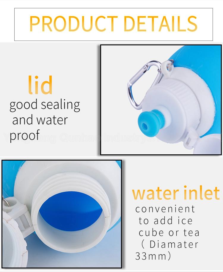 Eco amigável de alta Qualidade Durável Usando Vários Dobrável Dobrável Garrafa de Água de Esportes de Silicone