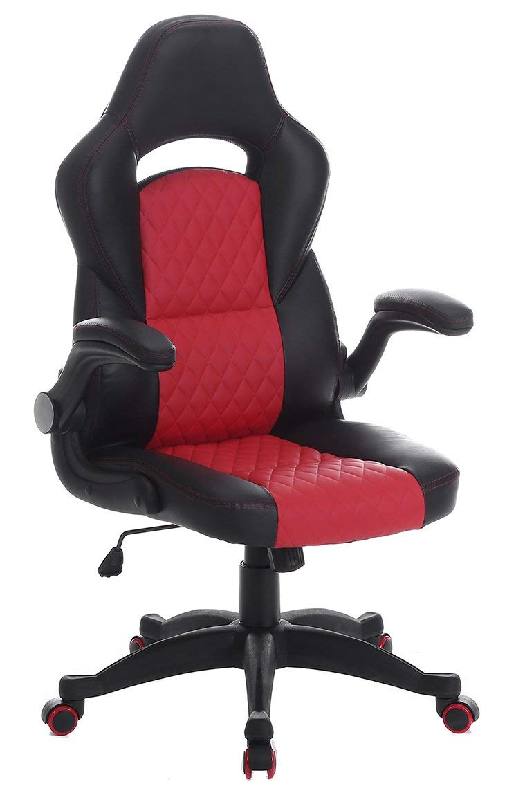 SEATZONE Upgeaded Edition Racing Car Style Bucket Seat Gaming Chair, Curved High-Back Executive Swivel Office Leather Chair, Adjustable Computer Chair with Flip-Up Armrest Red