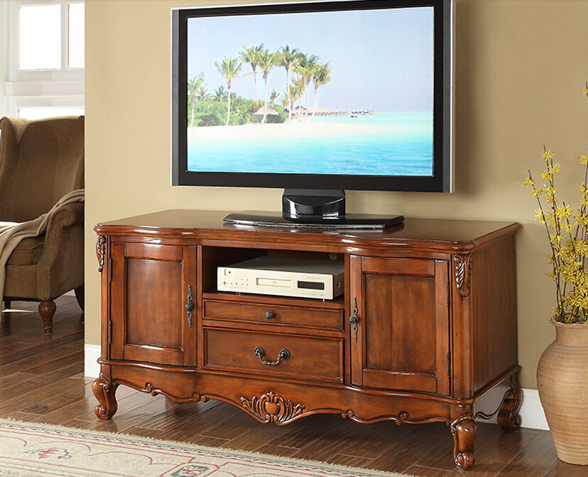 Wooden tv stand with hand carved pattern and drawer for - Dresser as tv stand in living room ...