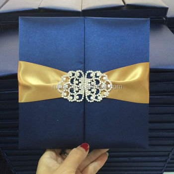 Royal Navy Blue Silk Wedding Invitation Boxes Gold Ribbon With Buckle
