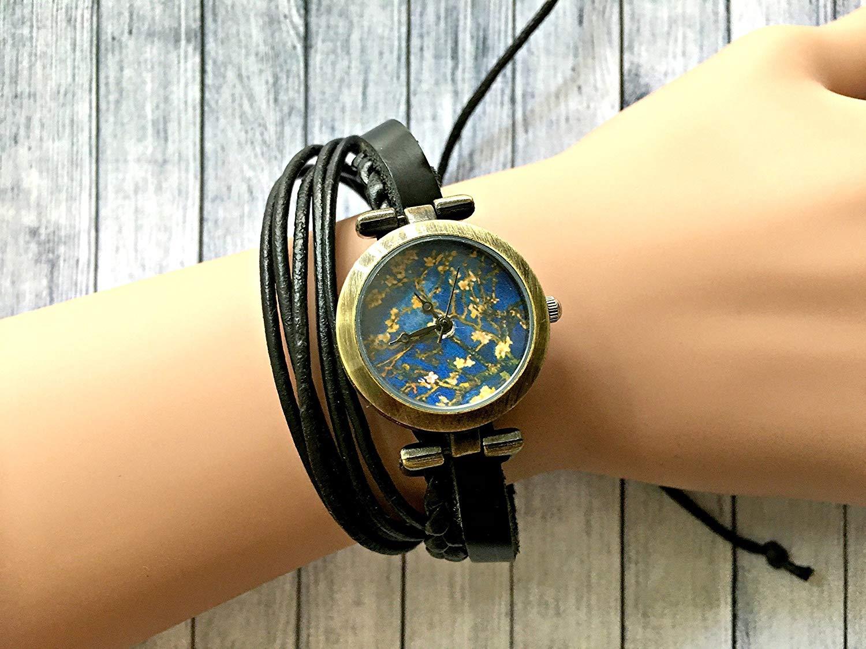 Van Gogh Wrap Bracelet Leather Watch, Leather Wrap Bracelet Watch, Leather Wrap Art Watch, Vintage Retro Wrap Bracelet Watch, Wrap Genuine Leather Watch 001