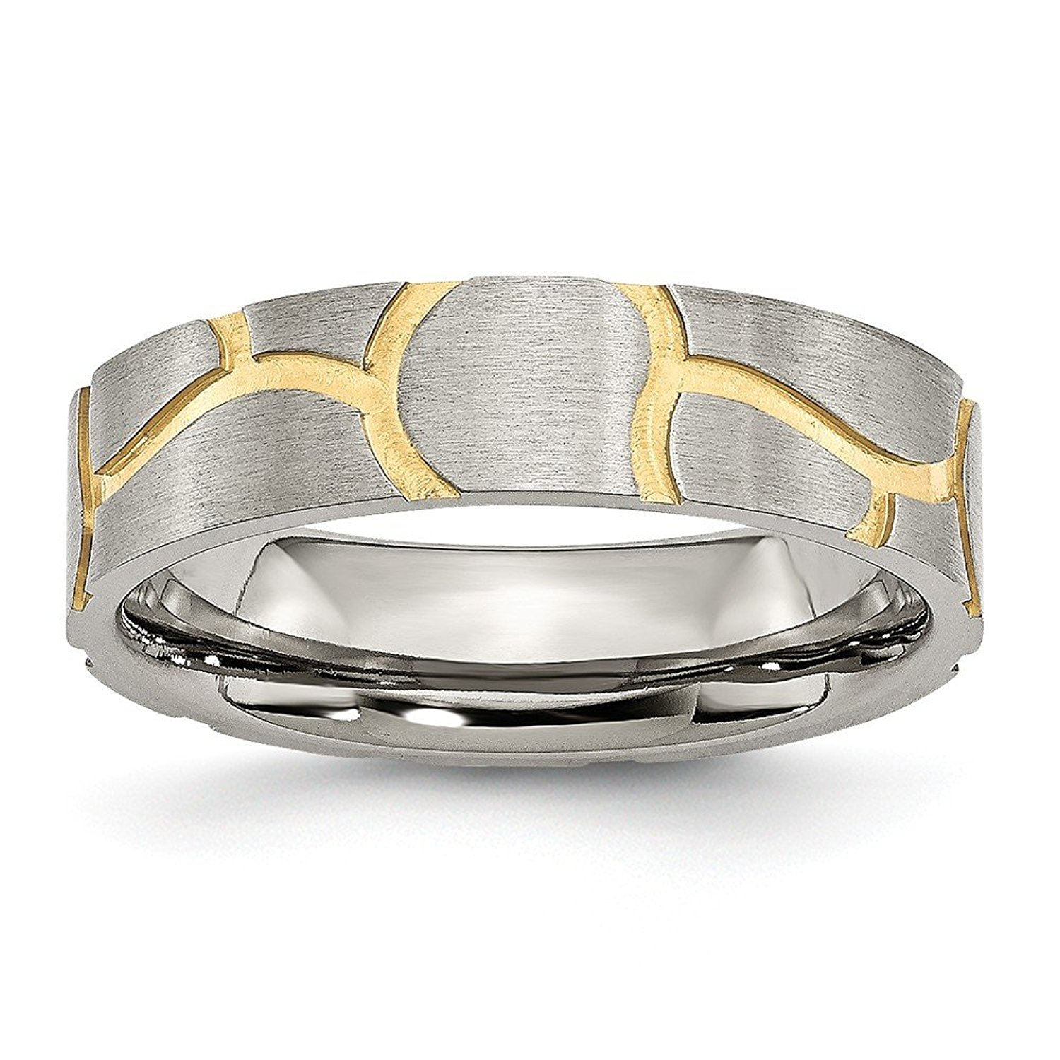 Top 10 Jewelry Gift Stainless Steel Grooved Yellow IP-plated Ladies 6mm Brushed Band