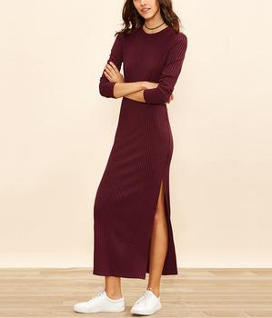 ba1617c4b71 Autumn Dress High Slit Women Ribbed Bodycon Sexy Maxi Dress New Basic Long  Sleeve Cashmere Brief