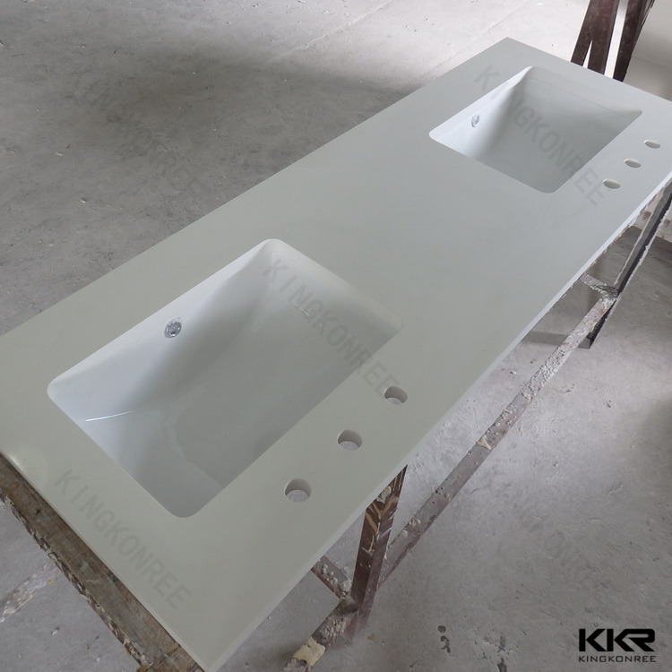 Molded double sink commercial bathroom vanity tops buy commercial bathroom vanity tops double for Custom double sink bathroom vanity