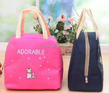 Korean lovely cartoon fabric tote lunch bag /cutely insulated aluminum foam cooler bag for kids