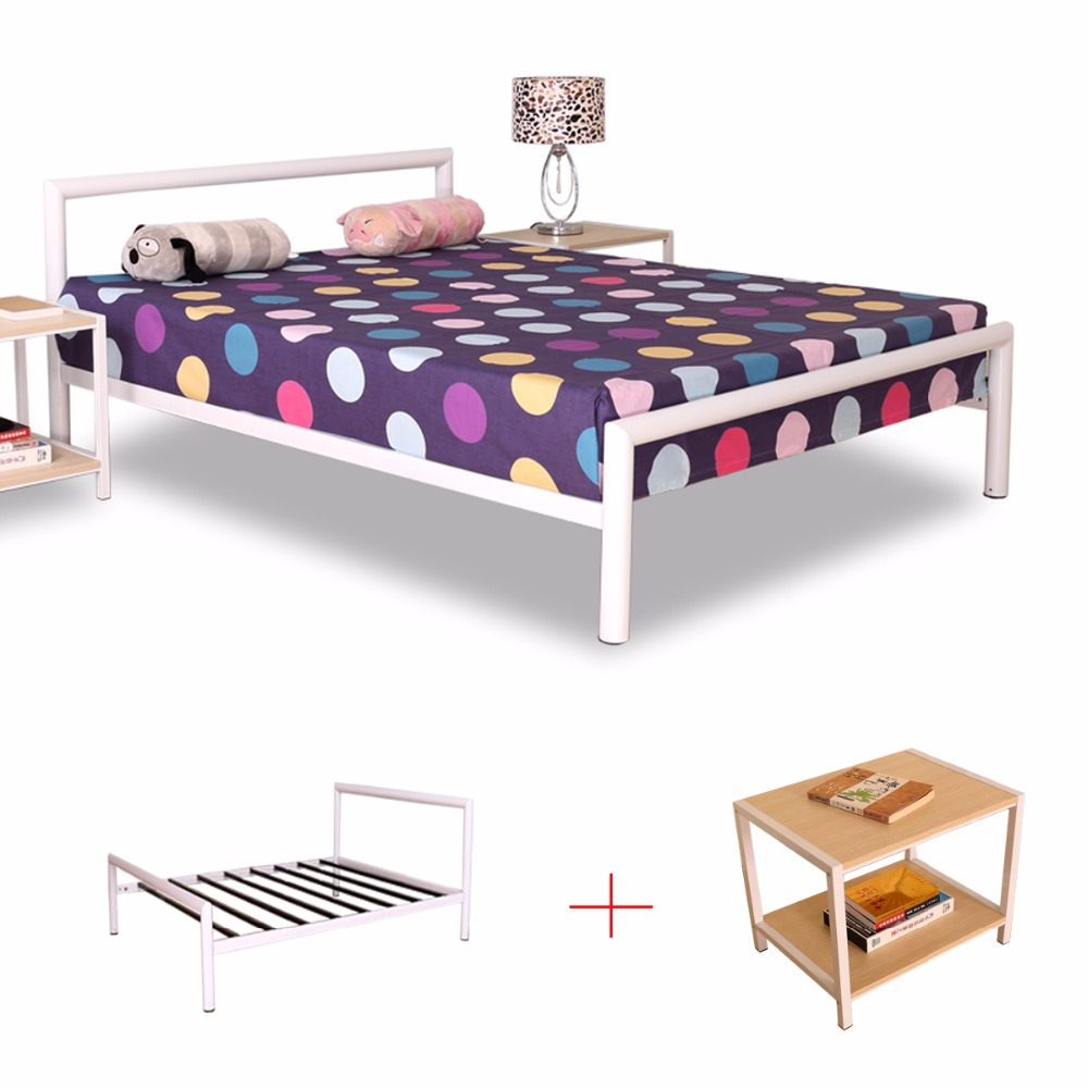 Big and thick metal circular tube beds head board and foot board white circular tube metal beds