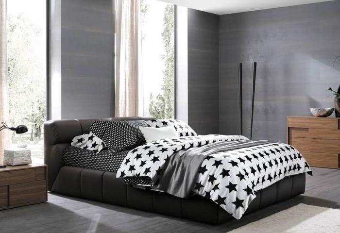 noir et blanc toiles literie couette tablit roi queen housse de couette couvre lit dans. Black Bedroom Furniture Sets. Home Design Ideas