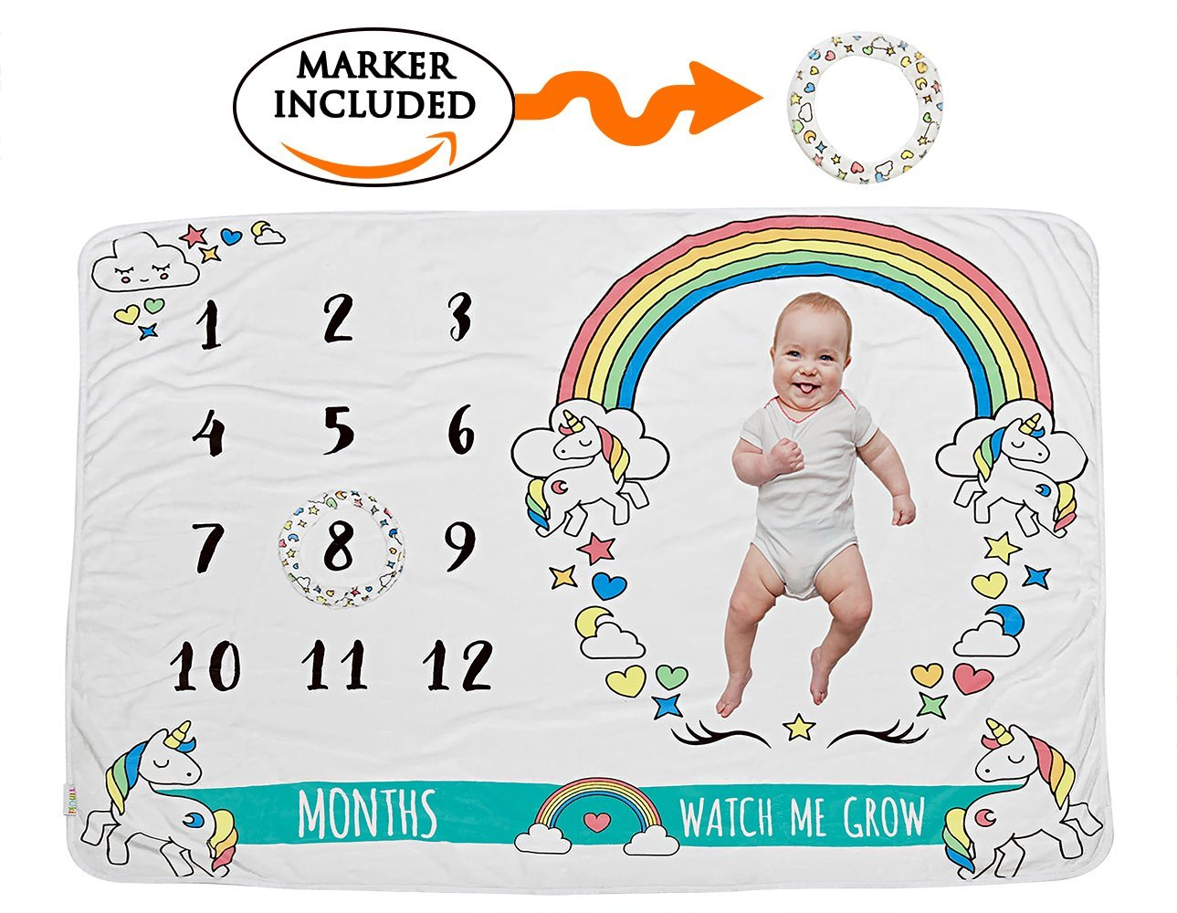 Tinoki Baby Milestone Blanket for Newborn Boys, Girls Photography – Monthly Rainbow Unisex Soft Unicorn Growth Keepsake Blankie Backdrop Photo Banner Frame Prop Shower Gift with Month Numbers,Marker