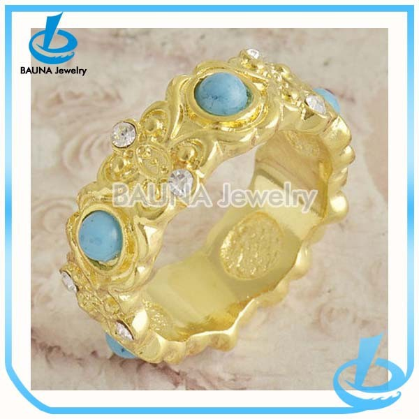 Traditional Chinese style turquoise ball jewelry rhinestone wedding solid gold jewelry ring