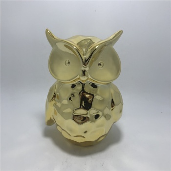 Owl shape gold plating ceramic money saving bank for decor