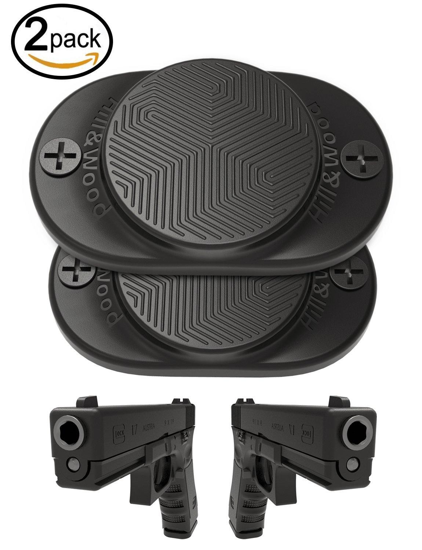 Hill & Wood Gun Magnet [2-Pack] | 30 lbs Rated | Rubber Coated Magnetic Gun Mount Gun Magnet-Concealed Gun Holder for Car, Handgun, Pistol, Rifle, Shotgun, Revolver