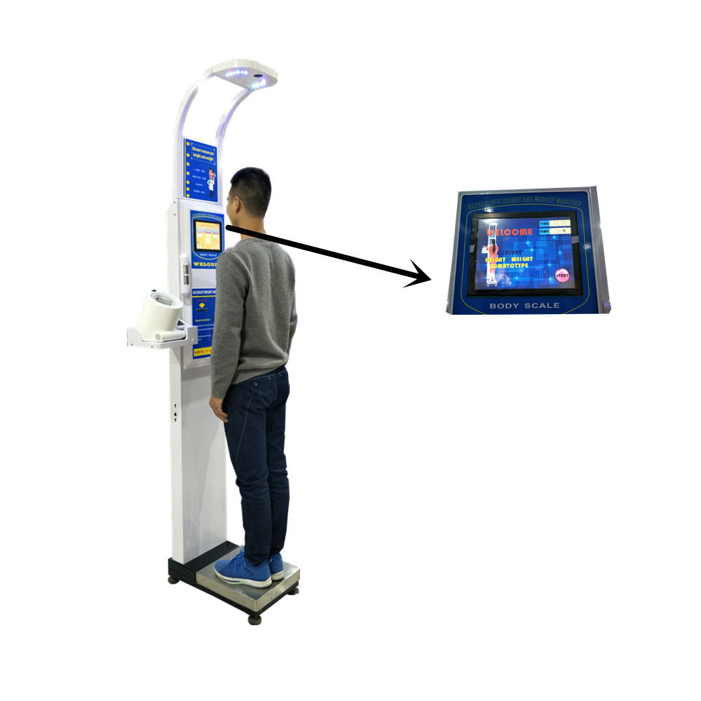 DHM-600A Medical Ultrasonic height weight bmi <strong>scale</strong> with blood pressure and body temperature for pharmacy and hospital