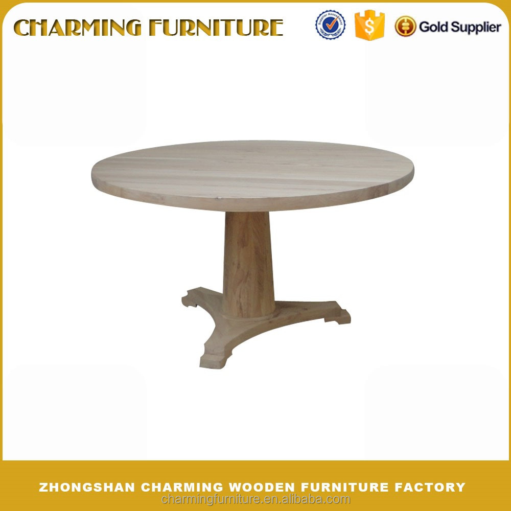One Leg Solid Elm Wood Round Dining Table 6671 Buy Solid Elm