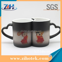 Heart handle photo cups 11oz sublimation blank magic mugs for lovers
