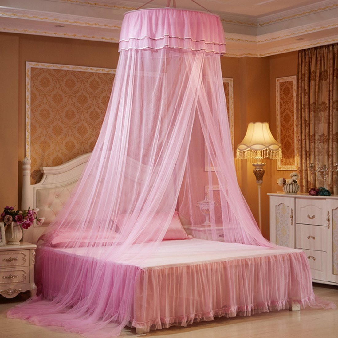 Haoun Mosquito Net, Bed Canopy Bed Curtains From Ceiling Princess Bed Canopy for Girls Bed - Pink