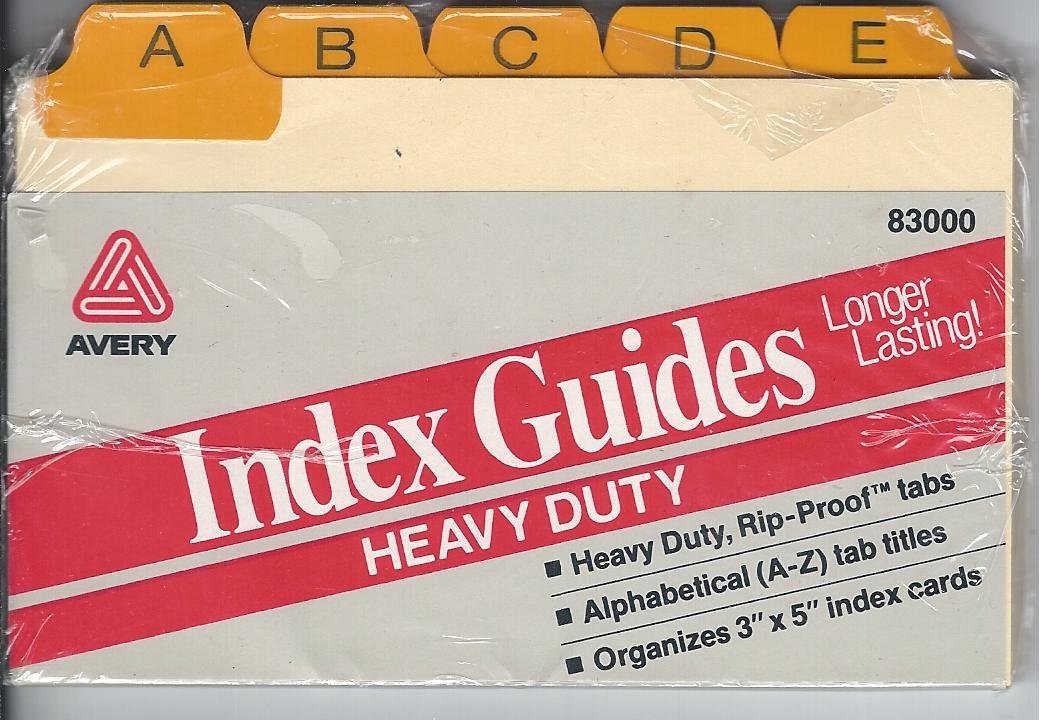 "AVERY HEAVY DUTY INDEX GUIDES- ALPHABETICAL A-Z 3""X 5"" INDEX CARDS"