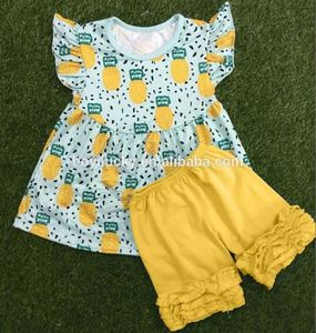 OEM Cheap Casual Kids Summer Clothing Sets Cotton Baby Girls Boutique Ruffle Shorts Outfits