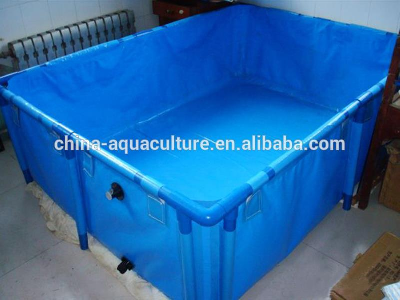 Folding collapsible polygon fish ponds for aquaculture for Tarpaulin fish pond