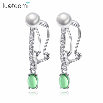 LUOTEEMI Earings Fashion Female Jewelry 2017 Inlaid Ziron with Imitation Pearl Trendy Earrings for Women