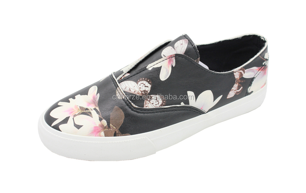New Style Loafer Printed Pu Leather Slip On Shoes For Women - Buy Leather ShoesLoafer Leather ...