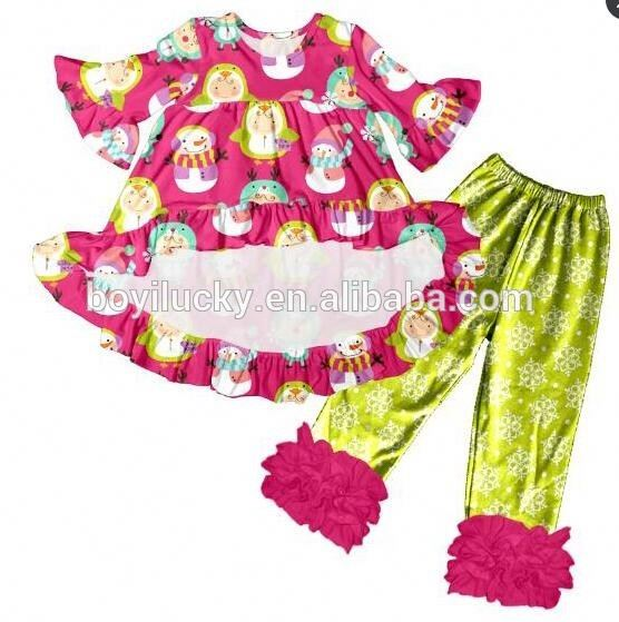 baby frock designs with snowflake icing legging christmas outfit for winter boutique girl clothing
