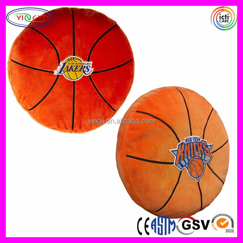 E474 Sports Cushion Plush Pillow with Embroidered Basketball Stuffed Pillow Cover Embroidery Design