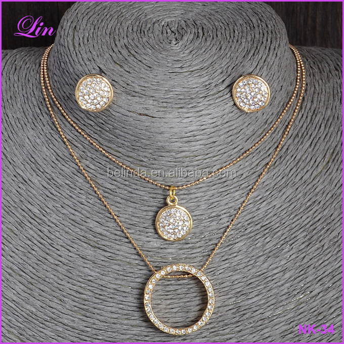 gold filled Austrian Crystal Classic Hollow 48cm necklace
