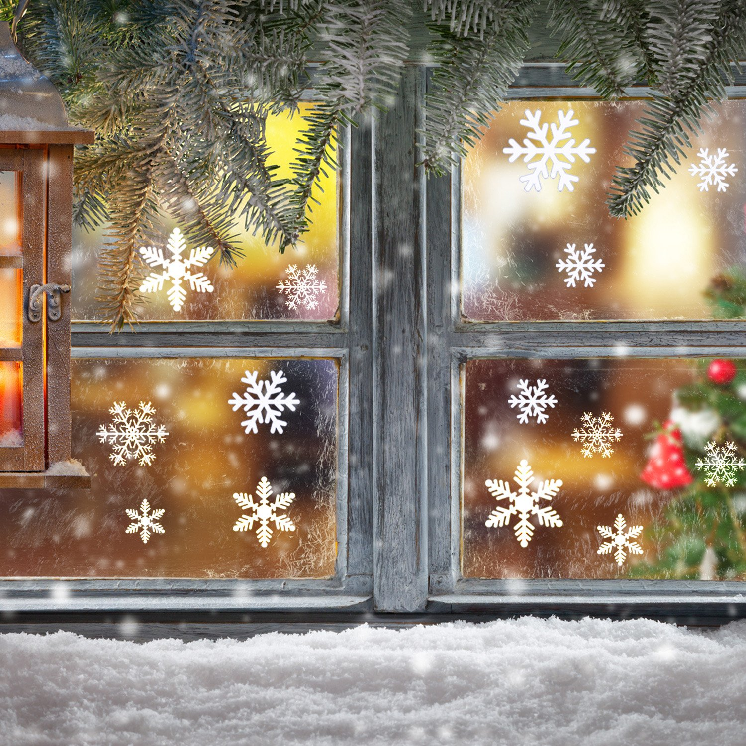 blulu snowflake window clings sheet vinyl window decorations for christmas gifts and home party decals