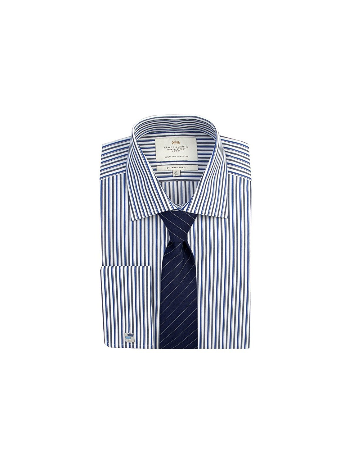 871558b1bb Get Quotations · HAWES & CURTIS Mens White & Grey Multi Stripe Slim Fit  Cotton Shirt - Double Cuff