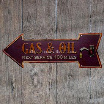 Gas Oil Retro Arrow Metal Tin Signs Embossed Vintage Metal Plate Wall Decor  For Bar Pub Home Restaurant Decor - Buy Tin Sign,Metal Tin Sign,Embossed