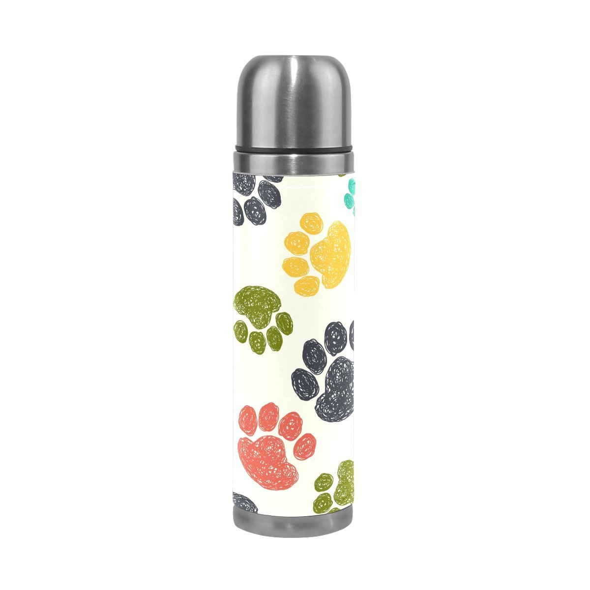 ALAZA 17 oz Colorful Dog Paw Print Double Wall Vacuum Cup Insulated Stainless Steel PU Leather Travel Mug, Christmas Birthday Gifts for Mom Dad Boys Girls Kids Lover Friends