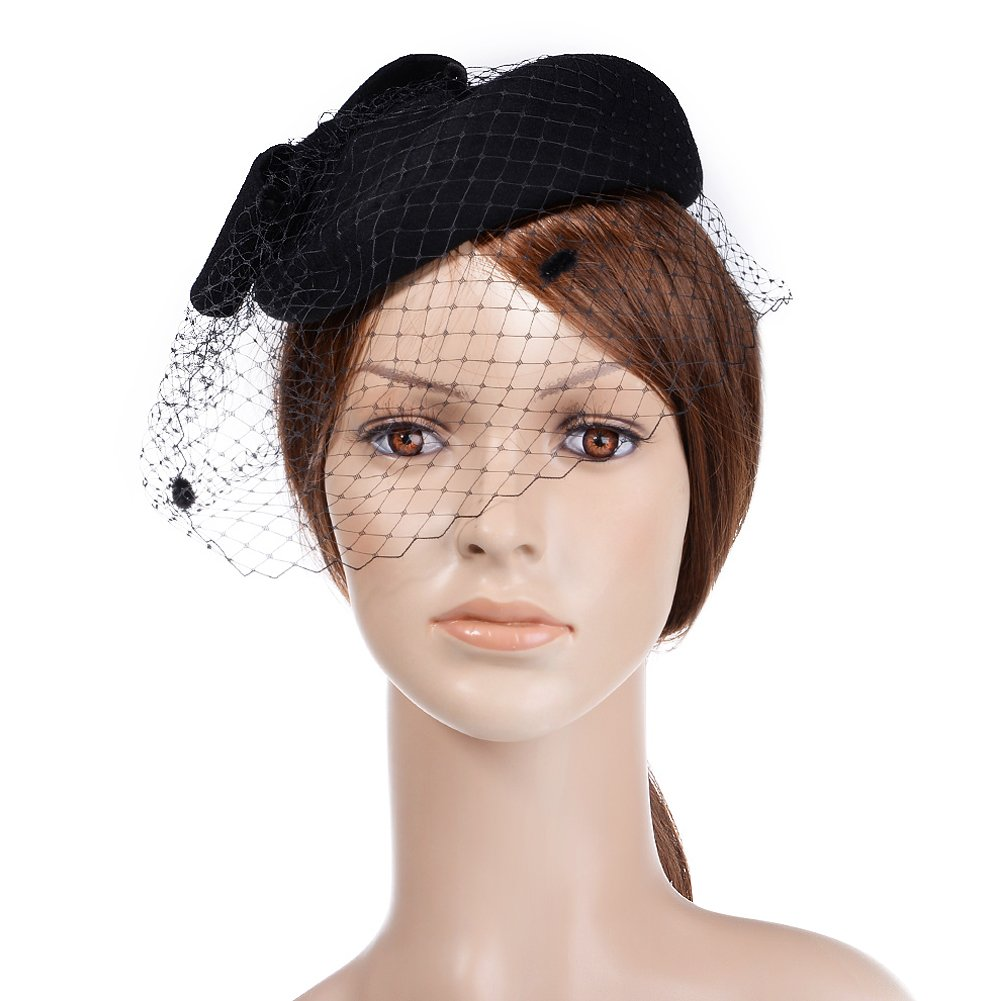 Get Quotations · VBIGER Women Fascinator Hats Derby Wedding Hats Vintage Hat  Pillbox Hat Woollen Felt Hat Bow Veil 9fca04fb480
