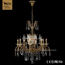 Classic antique 8 Lights Bedroom Candle Bronze fake crystal chandelier