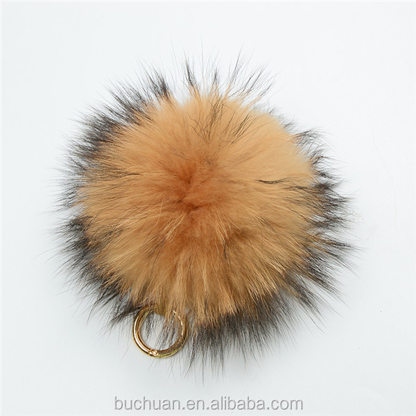 Fox / Raccoon / Rabbit Fur Ball Fur Pom Keychain