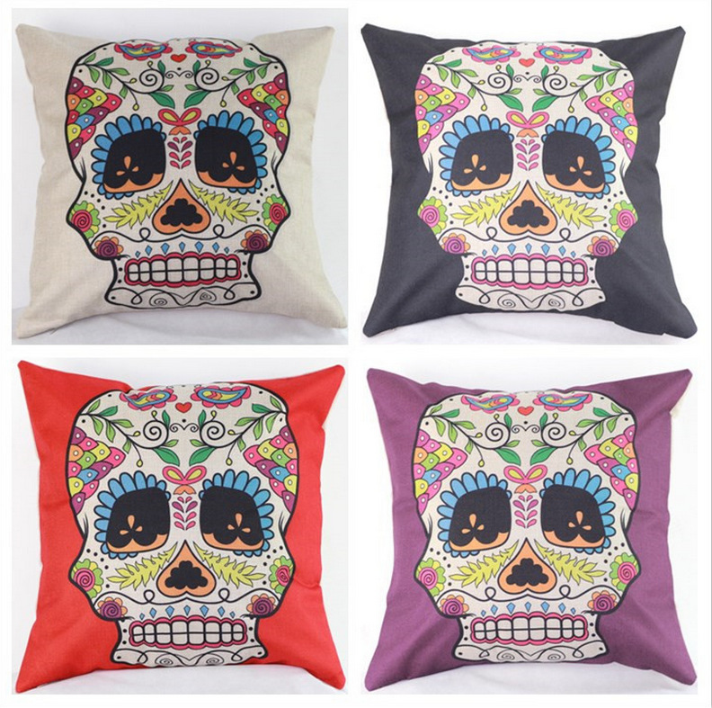 45cm Black Colorful Skull Fashion Cotton Linen Back Cushion Hot Sale 18 Inch New Home Sitting Room Decor Coffee Sofa Pillow HL