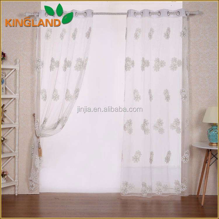 Shaoxing cheap price modern design embroidery curtain fabric for readymade curtains